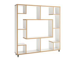 Librería de madera ecológica Cubo, blanco - altura 150 cm