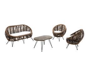 Set de 2 sillas, sillón y mesa de centro en ratán y madera