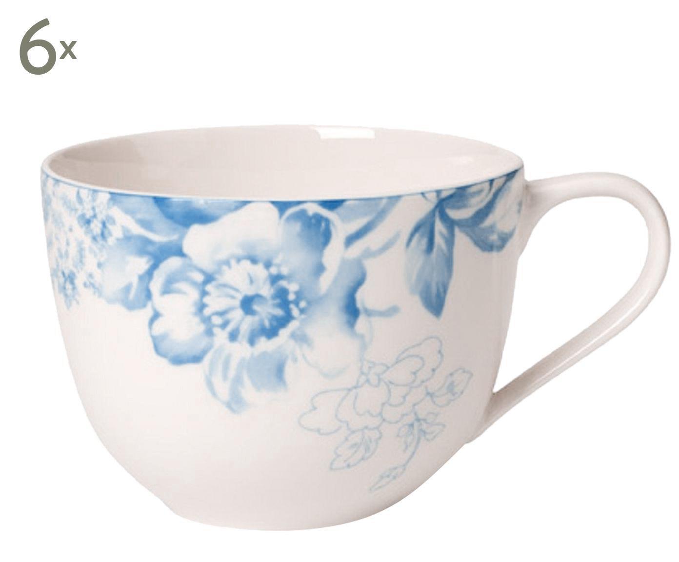 Set di 6 tazzine caffe' in porcellana Floreana blu
