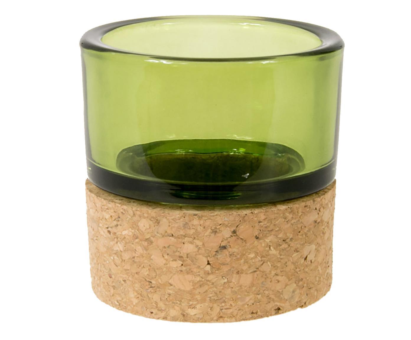 Porta tealight in vetro e sughero verde chiaro