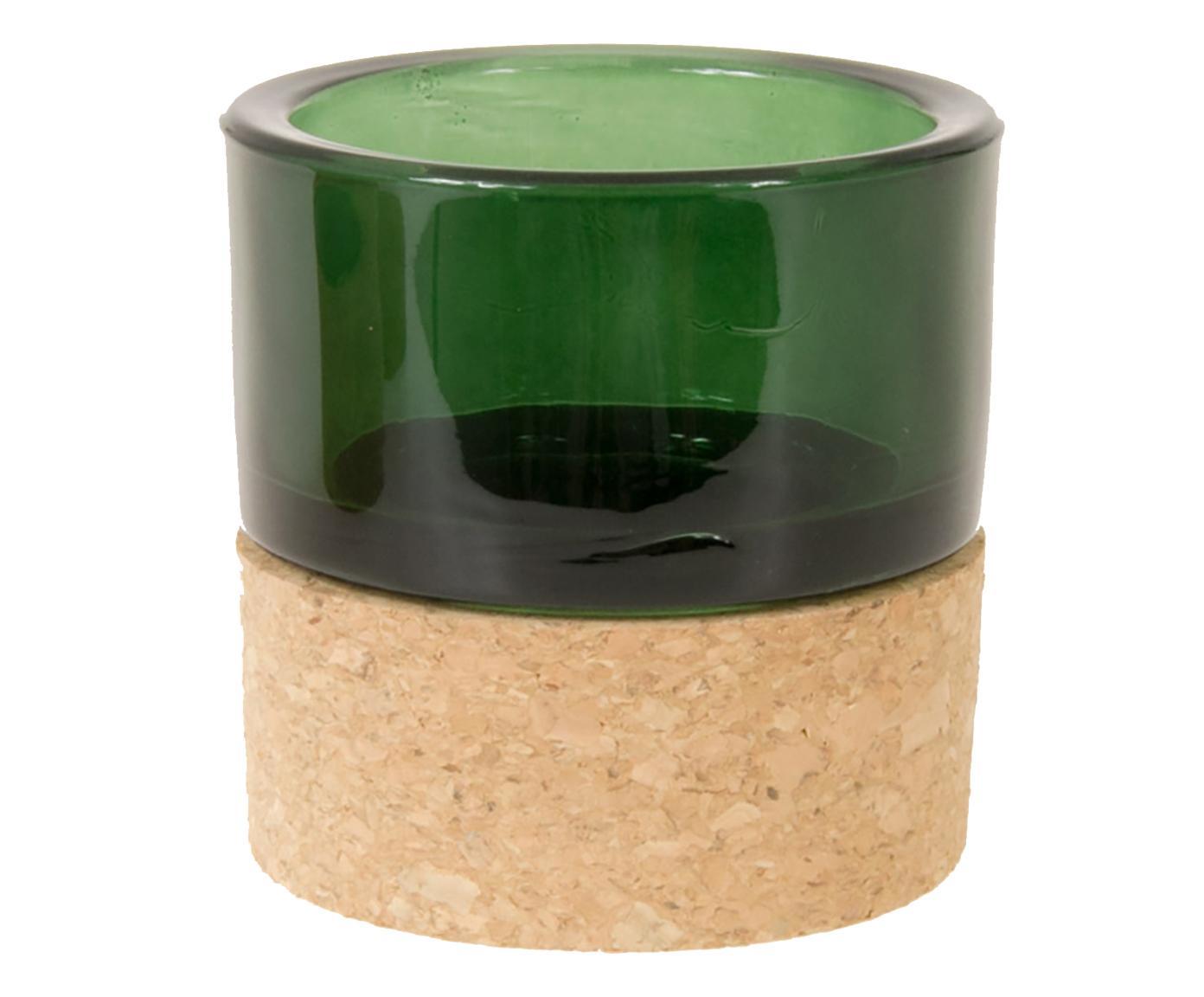 Porta tealight in vetro e sughero verde scuro