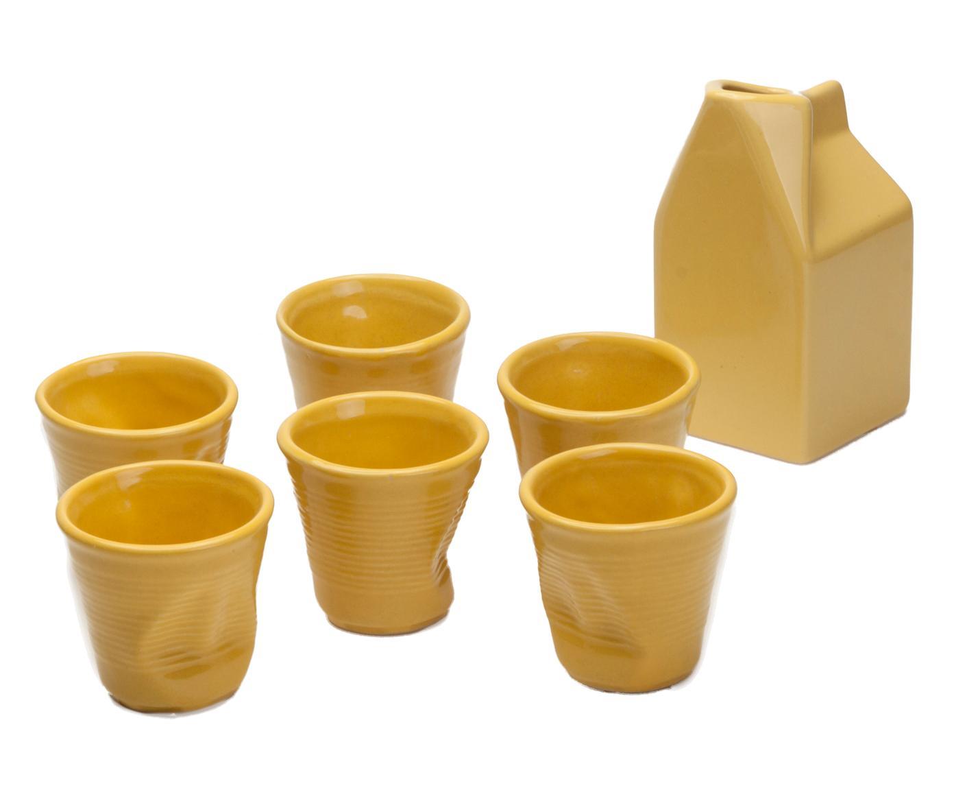 Set di 6 bicchieri caffe' accartocciati + lattiera in gres giallo