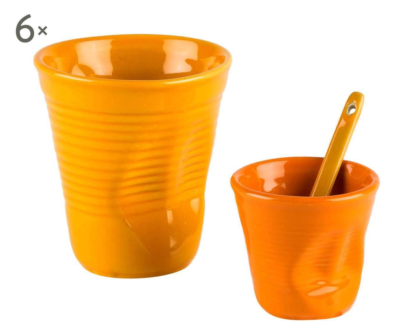 Set di 6 bicchieri caffe' e 6 da cappuccino arancione