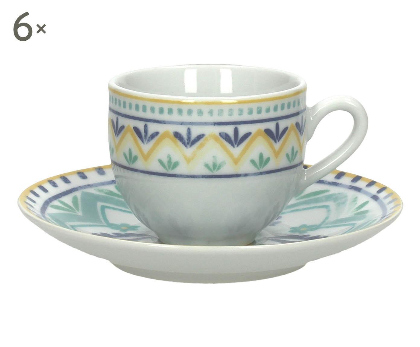 Set di 6 tazzine caffe' c/piattino in porcellana